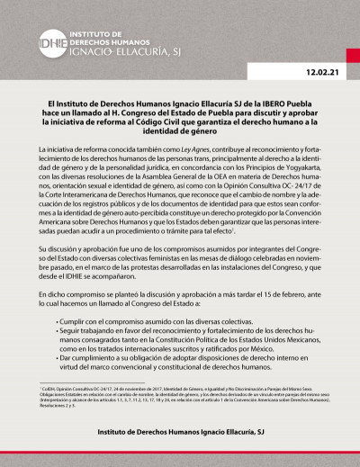 Exige Ibero Puebla al Congreso la aprobación e la